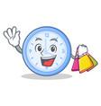 shopping clock character cartoon style vector image