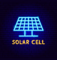 solar cell neon label vector image