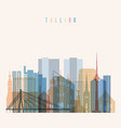 tallinn skyline detailed silhouette transparent vector image vector image