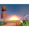 The two squirrels in the hills with a signboard vector image vector image