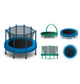 trampoline icons set realistic style vector image