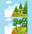 two scenes with cliff at day time vector image