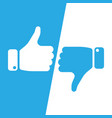 vote thumbs up icon in blue and white inverse vector image