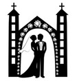 wedding silhouette 8 vector image