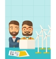 Workers using laptop with windmills vector image