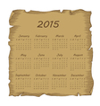 aged scroll calendar 2015 vector image vector image