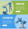 assembling conveyor banners vector image