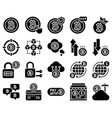 bitcoin and cryptocurrency related solid icon set