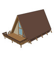 brown wooden house on white background vector image vector image