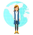 Business woman standing on globe background vector image vector image