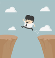 Businessman jumping over the cliff vector image vector image