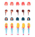 choose appearance for animated girl character set vector image vector image