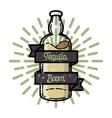 Color vintage tequila emblem vector image vector image