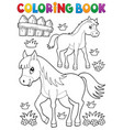 coloring book horse with foal theme 1 vector image vector image
