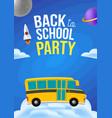 cute cartoon school bus with color cloud space vector image vector image