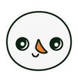 cute snowman face happy christmas vector image vector image