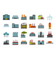 factory icon set flat style vector image