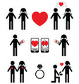 Falling in love and engagement icons vector image
