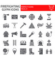 firefighter glyph icon set fireman symbols vector image