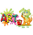 font design for word art with cat painting on the vector image
