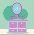 furniture washbasin and mirror cartoon bathroom vector image