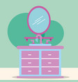 furniture washbasin and mirror cartoon bathroom vector image vector image