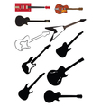 Guitar silhouettes vector image vector image