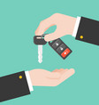hand give remote car key to other hand flat design vector image