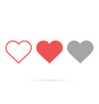 heart collection love symbol icon set vector image