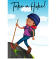 hiker with phrase take a hike vector image