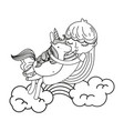 line nice girl hugging unicorn in the clouds vector image vector image