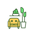 living room with indoor plants rgb color icon vector image vector image