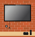 modern tv with blank screen on brick wall and tv vector image vector image