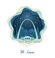 paper art of st louis origami concept night vector image vector image