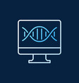 pc with dna colored line icon on dark vector image vector image