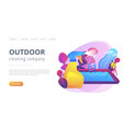 pool and outdoor cleaning concept landing page vector image vector image