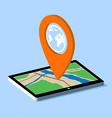 Route map on the tablet vector image vector image