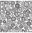 Seamless hand drawn doodle pattern with buttons vector image vector image