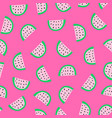 seamless pattern watermelon slices on pink vector image vector image