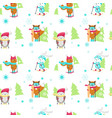 seamless pattern with cute skiing animals vector image vector image