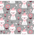seamless pattern with cute squinted kittens vector image vector image