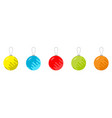 set five christmas balls happy new year white vector image vector image