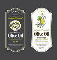 set labels for olive oils elegant design vector image vector image