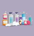 set of facial creams products vector image vector image