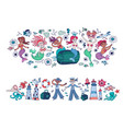 set of little cartoon mermaids and sailors vector image