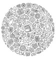 set spring cartoon doodle objects vector image