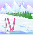 ski winter background snow mountains view vector image vector image