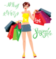 Smiling Happy girl holding shopping bags vector image vector image