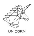 unicorns head polygonal geometric vector image vector image