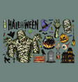 vintage halloween elements collection vector image vector image